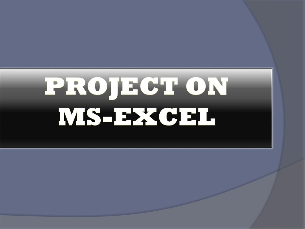 PROJECT ON MS-EXCEL