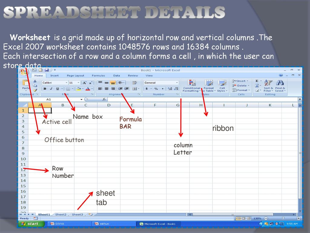 SPREADSHEET DETAILS Worksheet is a grid made up of horizontal row and vertical columns .The.