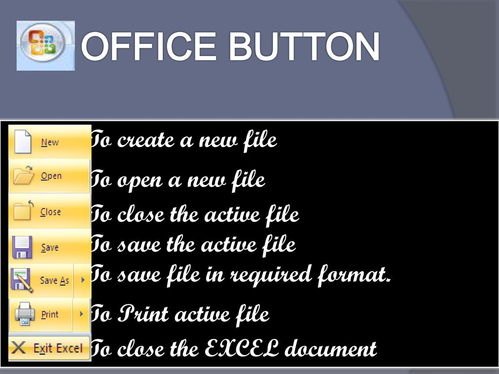 OFFICE BUTTON To create a new file To open a new file