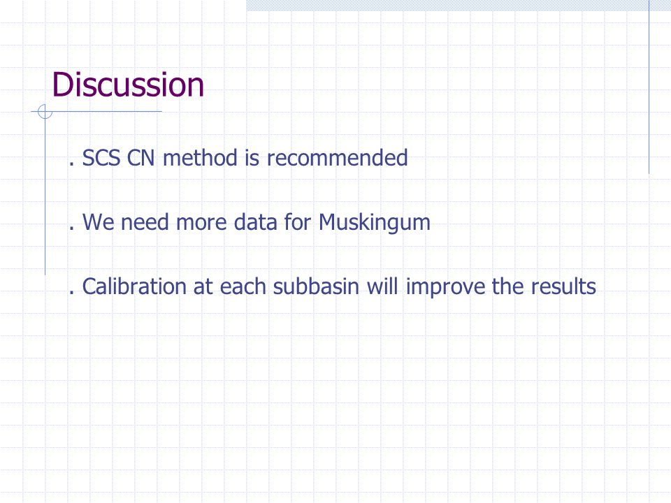 Discussion . SCS CN method is recommended