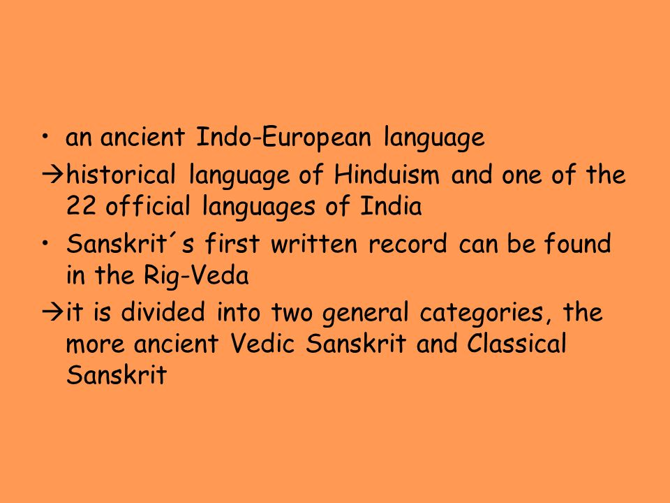 an ancient Indo-European language