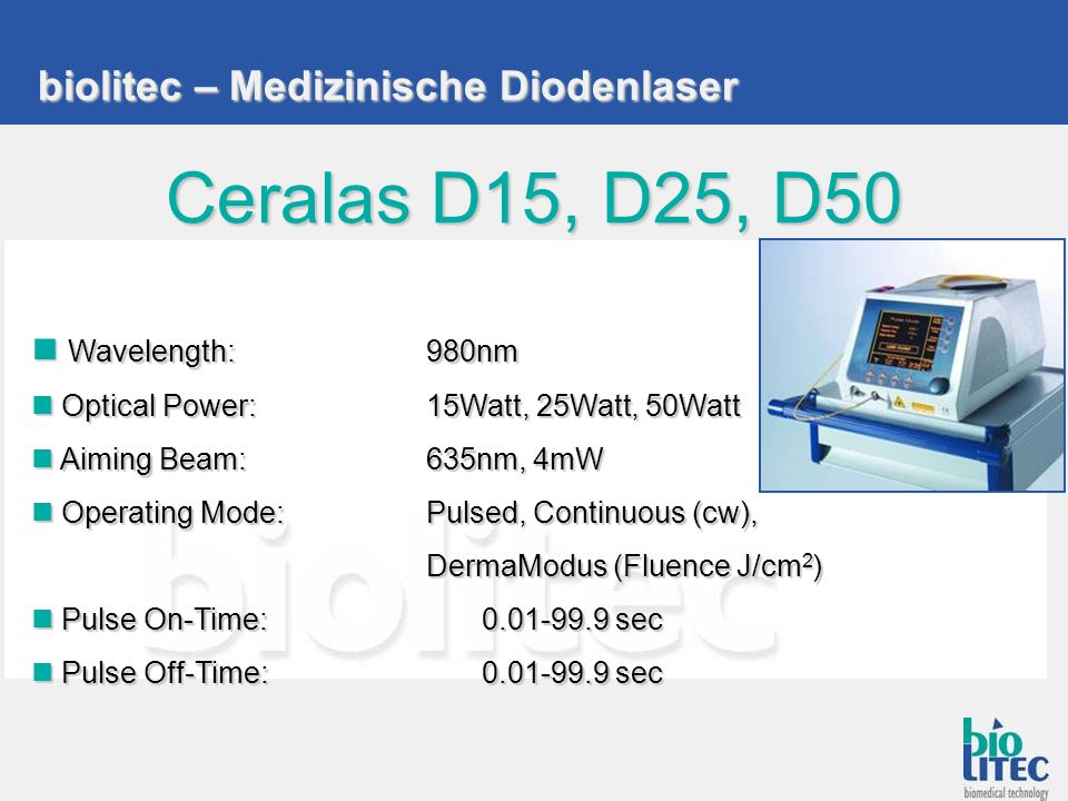 Ceralas D15, D25, D50 biolitec – Medizinische Diodenlaser
