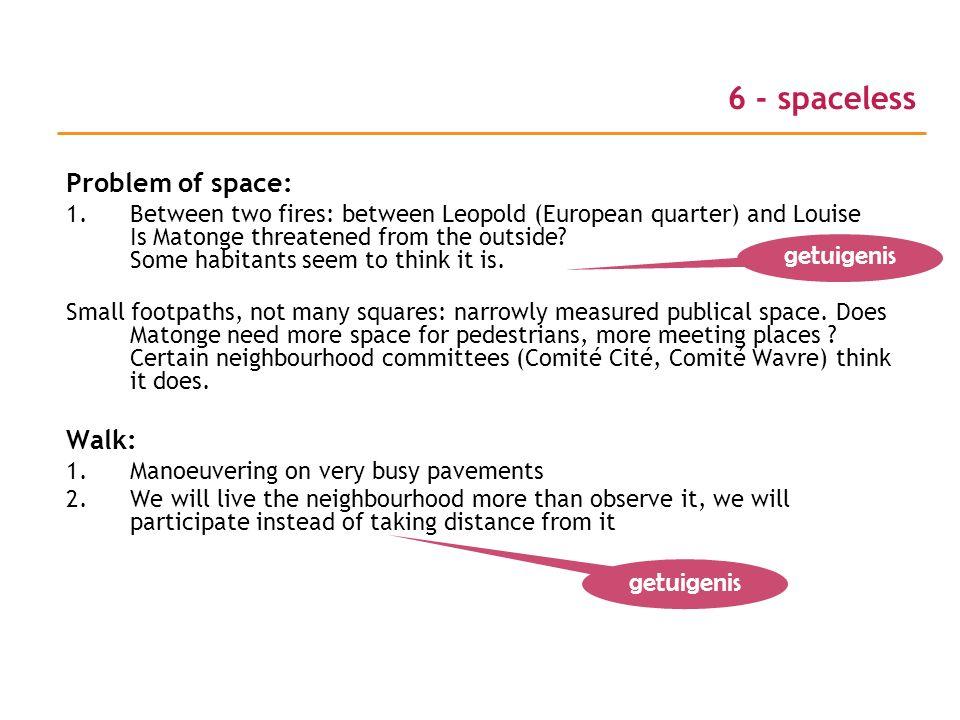 6 - spaceless Problem of space: getuigenis Walk: getuigenis