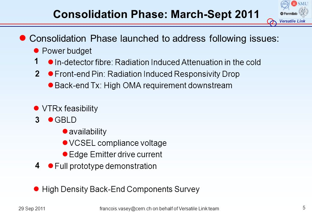 Consolidation Phase: March-Sept 2011
