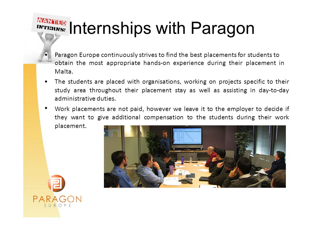 Internships with Paragon •