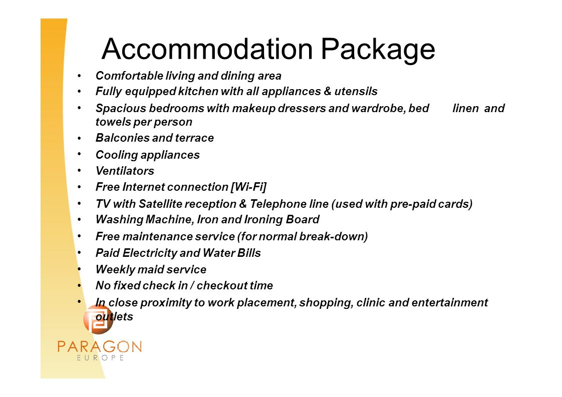 Accommodation Package • Comfortable living and dining area