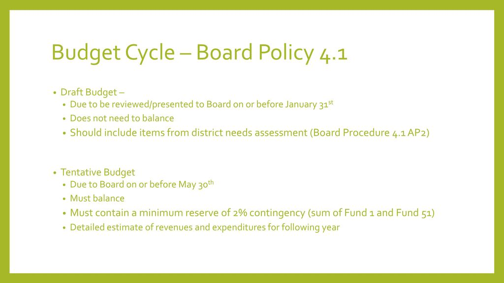 Budget Cycle – Board Policy 4.1