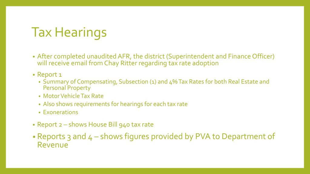 Tax Hearings
