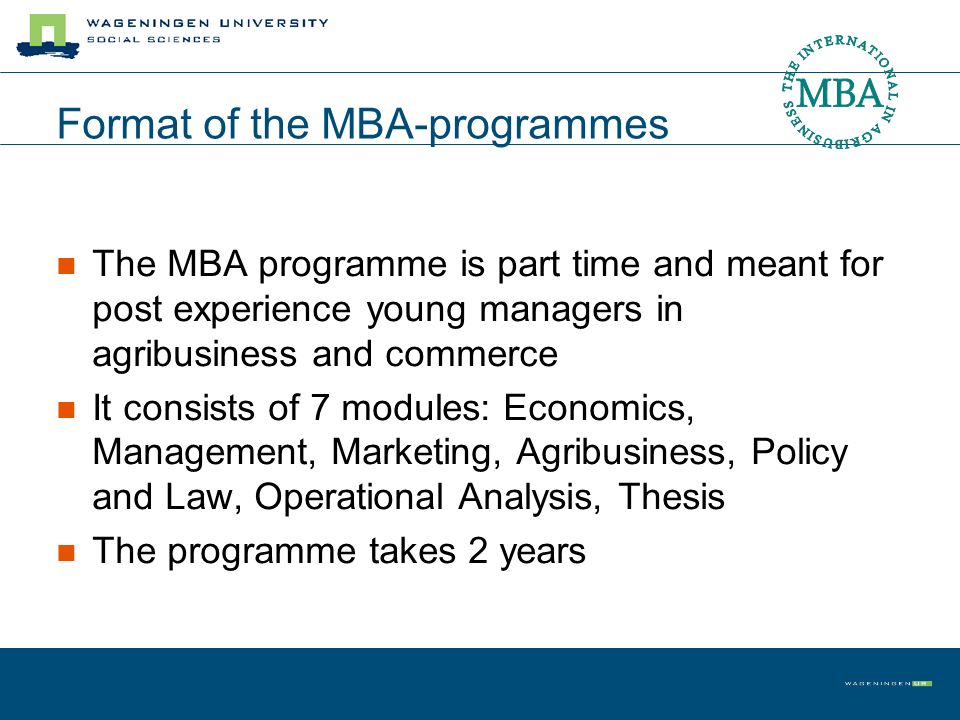 Format of the MBA-programmes