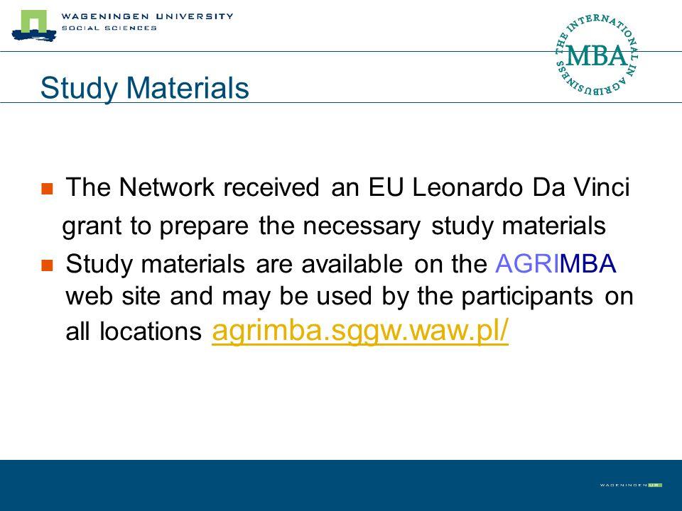 Study Materials The Network received an EU Leonardo Da Vinci