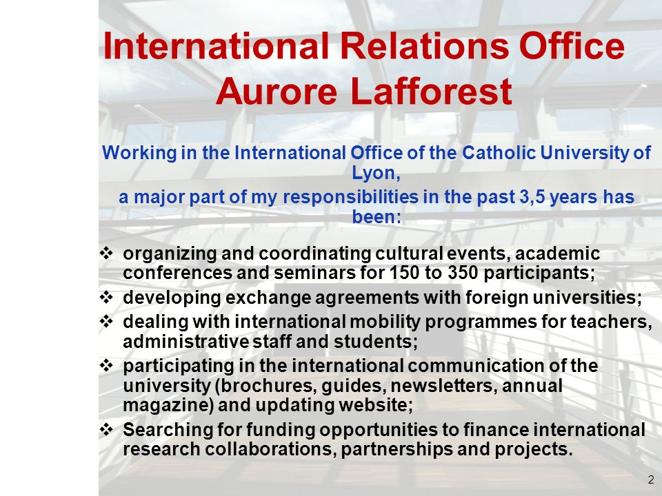 International Relations Office Aurore Lafforest