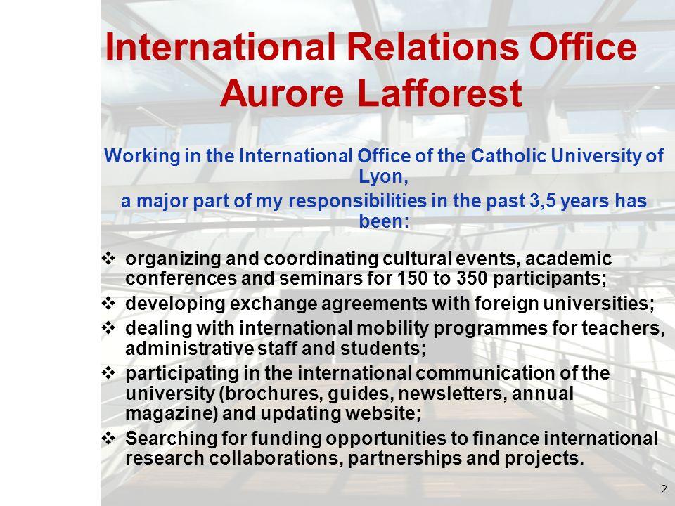 International Relations Office Aurore Lafforest