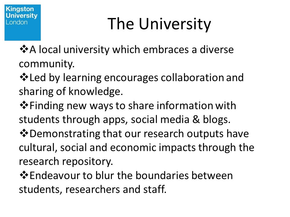 The University A local university which embraces a diverse community.