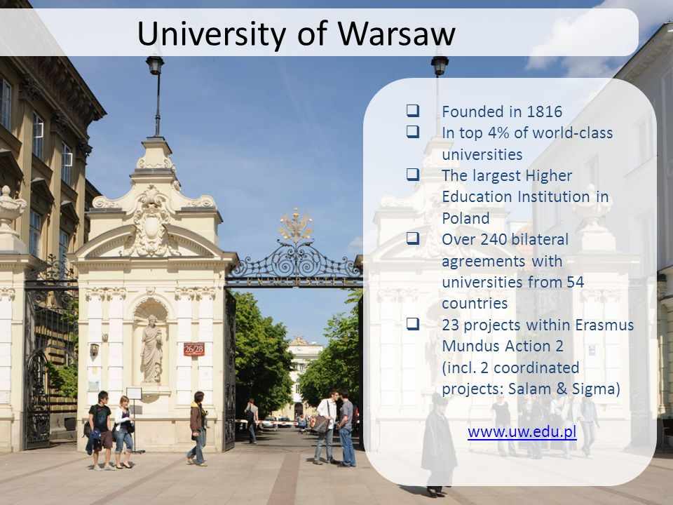 University of Warsaw Founded in 1816