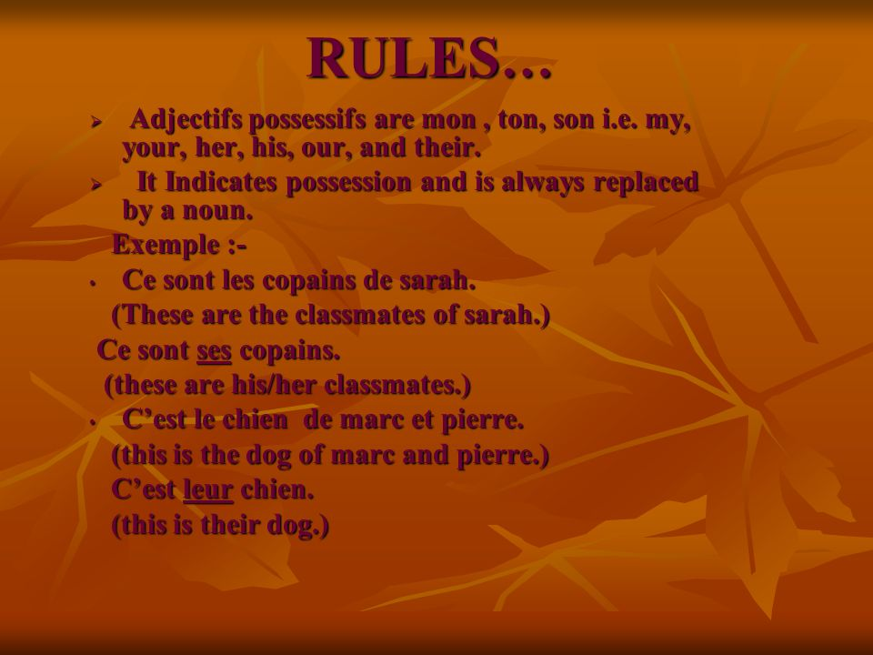 RULES… Adjectifs possessifs are mon , ton, son i.e. my, your, her, his, our, and their. It Indicates possession and is always replaced by a noun.