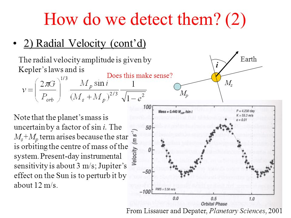 How do we detect them (2) 2) Radial Velocity (cont'd)