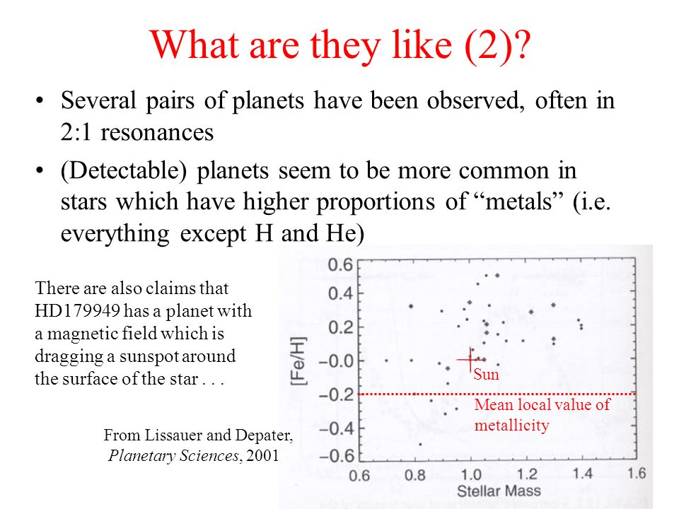 What are they like (2) Several pairs of planets have been observed, often in 2:1 resonances.