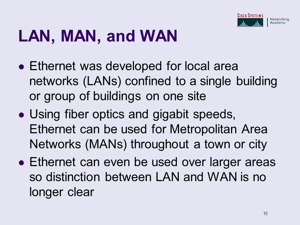 LAN, MAN, and WAN Ethernet was developed for local area networks (LANs) confined to a single building or group of buildings on one site.