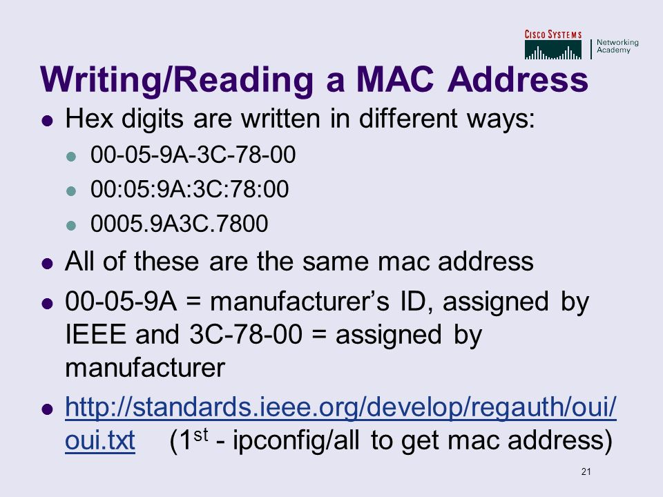 Writing/Reading a MAC Address