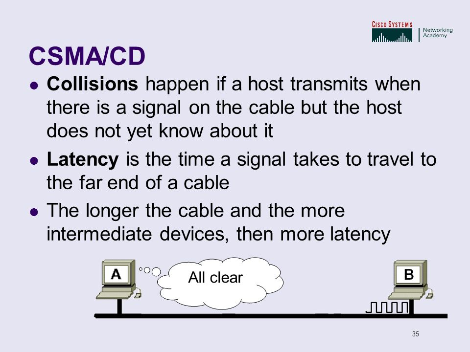 CSMA/CD Collisions happen if a host transmits when there is a signal on the cable but the host does not yet know about it.