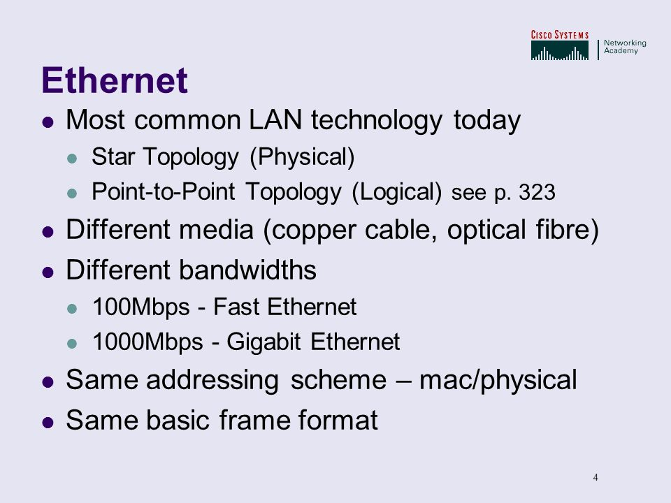 Ethernet Most common LAN technology today