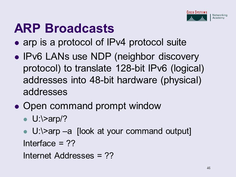 ARP Broadcasts arp is a protocol of IPv4 protocol suite