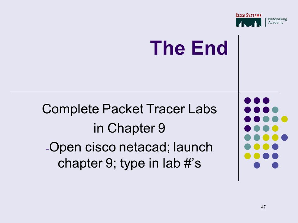 The End Complete Packet Tracer Labs in Chapter 9