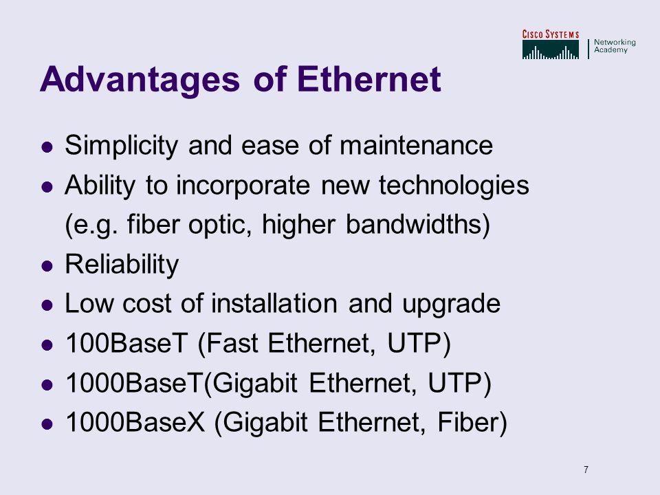 Advantages of Ethernet