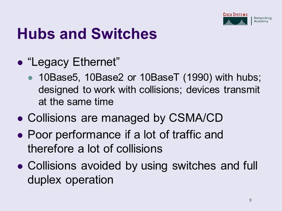 Hubs and Switches Legacy Ethernet Collisions are managed by CSMA/CD