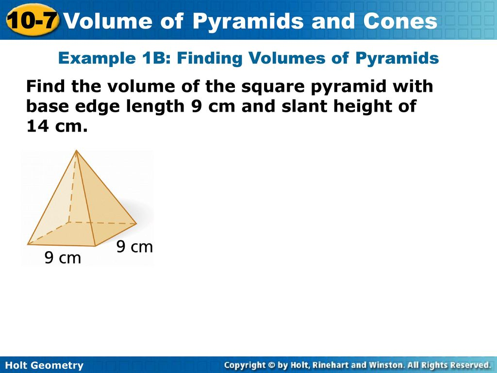 holt geometry volume of pyramids and cones