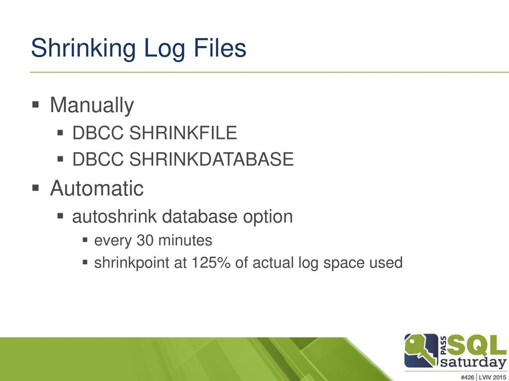 shrink database log