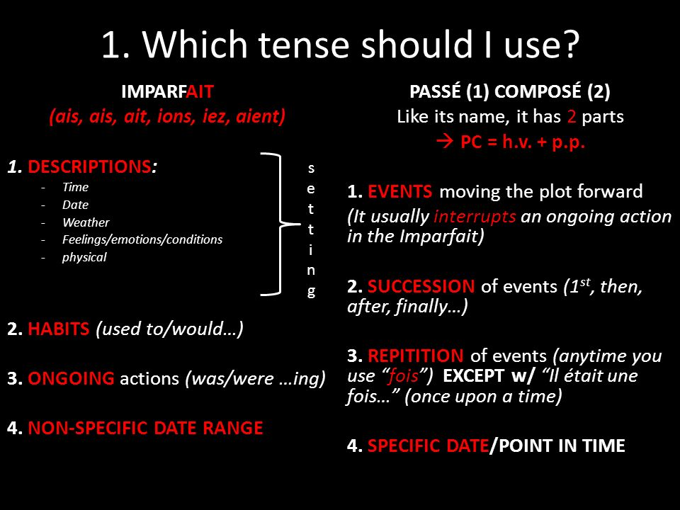 1. Which tense should I use