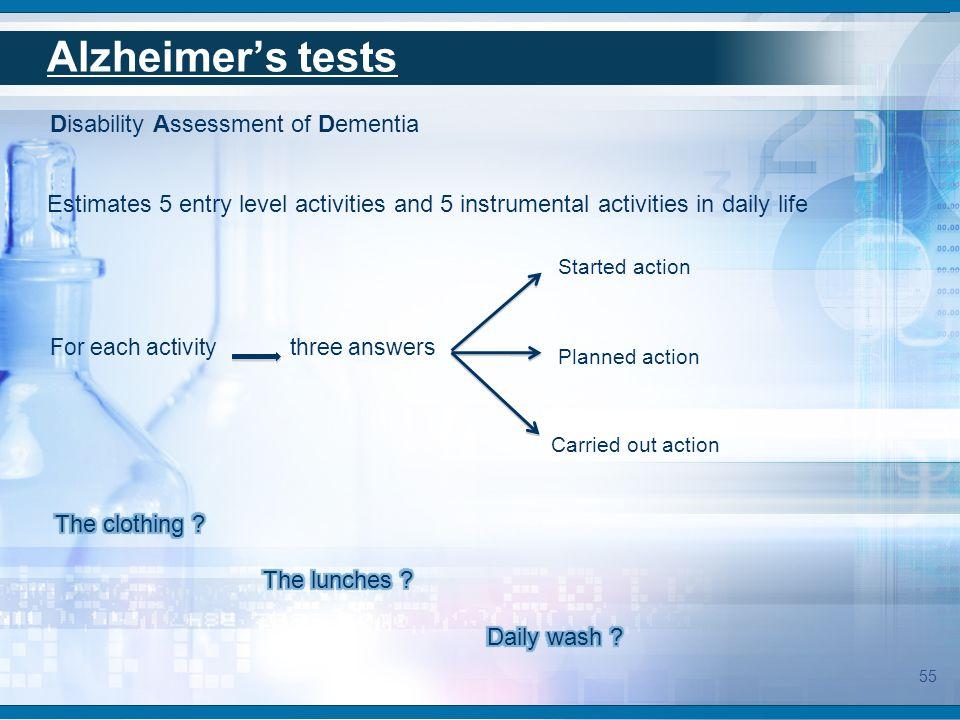 Alzheimer's tests Disability Assessment of Dementia