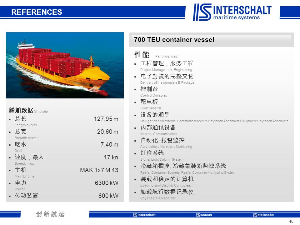 REFERENCES 性能 Performances: 700 TEU container vessel