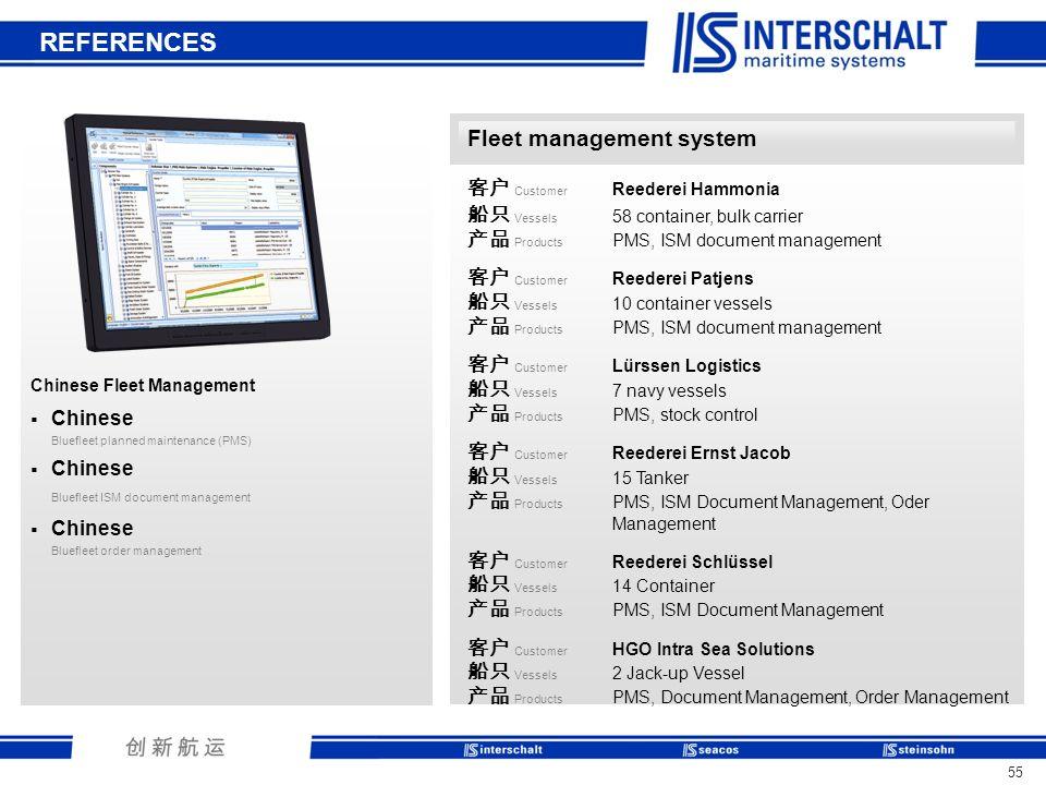 REFERENCES Fleet management system 客户 Customer Reederei Hammonia