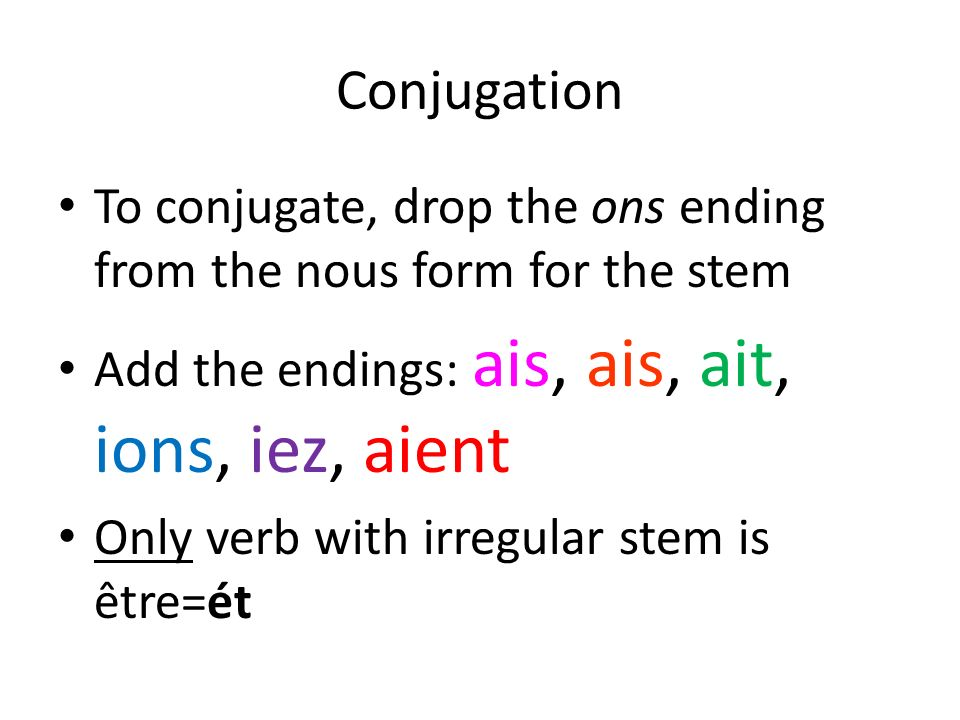Conjugation To conjugate, drop the ons ending from the nous form for the stem. Add the endings: ais, ais, ait, ions, iez, aient.