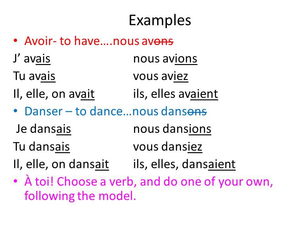 Examples Avoir- to have….nous avons J' avais nous avions