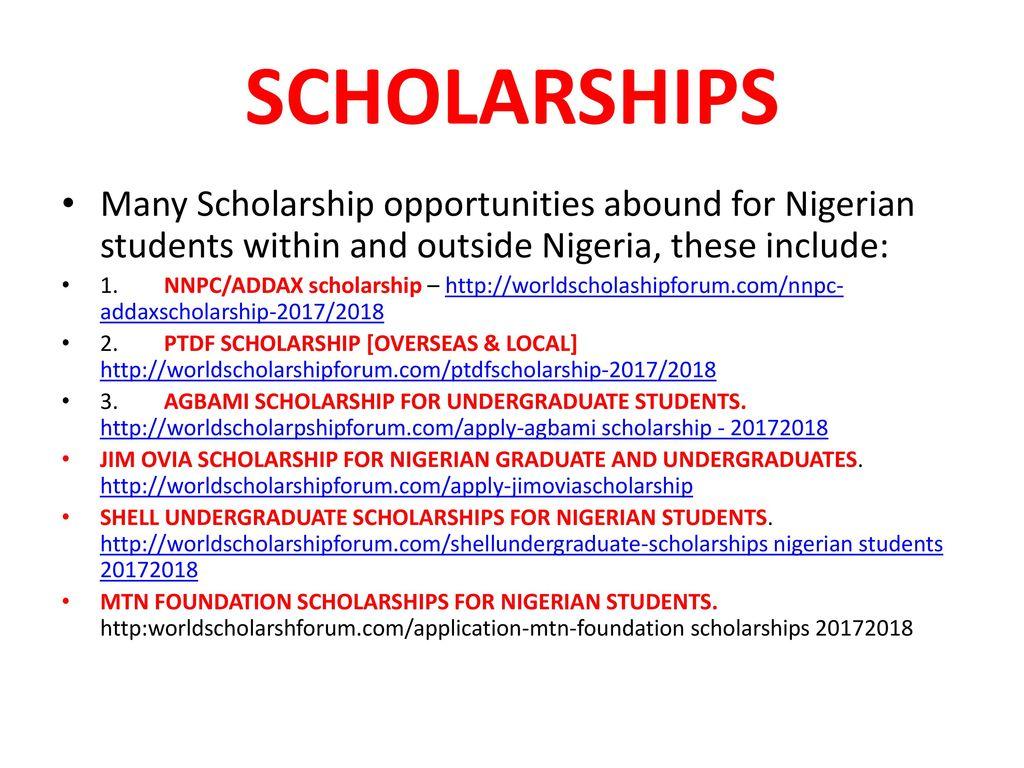 nigeria scholarships 2017 2018