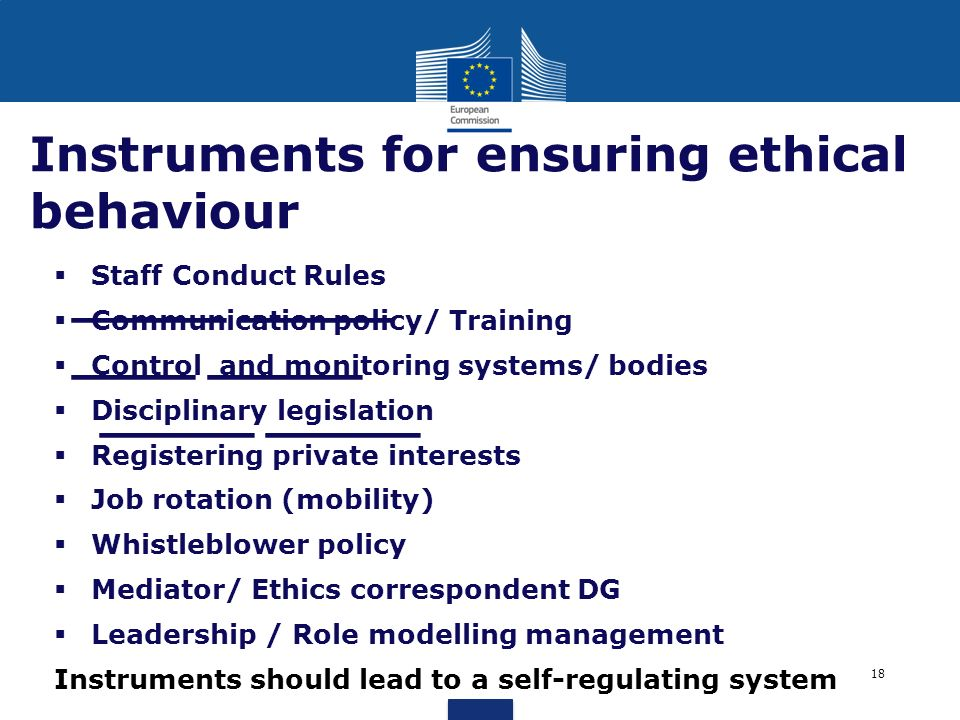 Instruments for ensuring ethical behaviour
