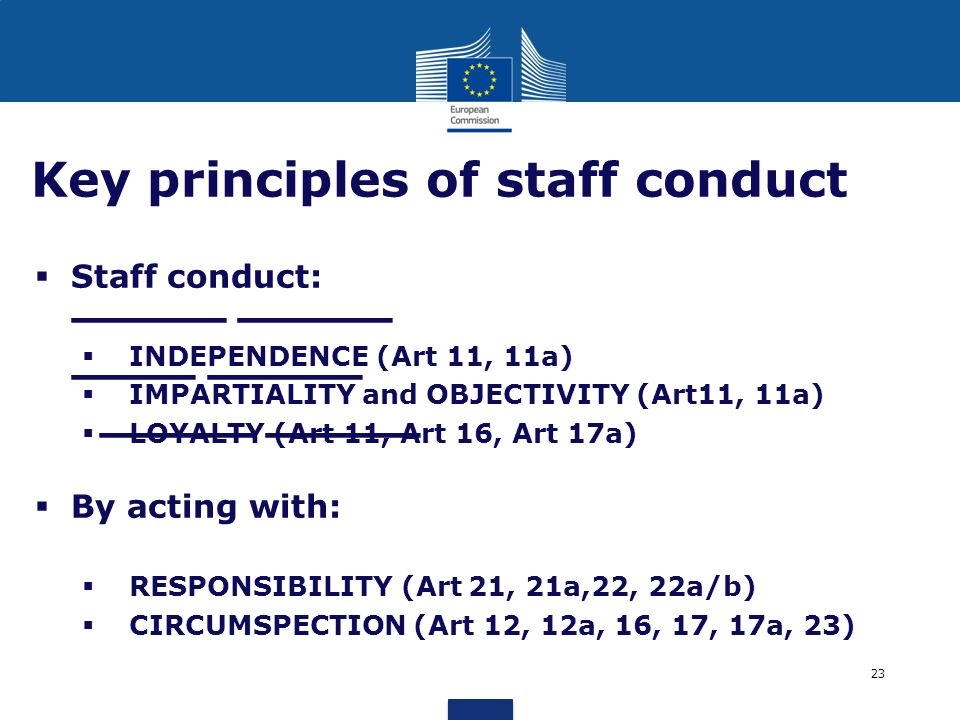 Key principles of staff conduct