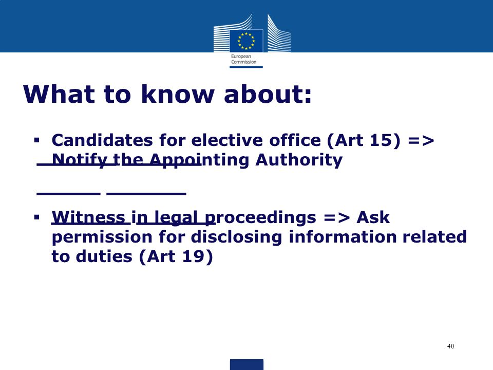 What to know about:Candidates for elective office (Art 15) => Notify the Appointing Authority.