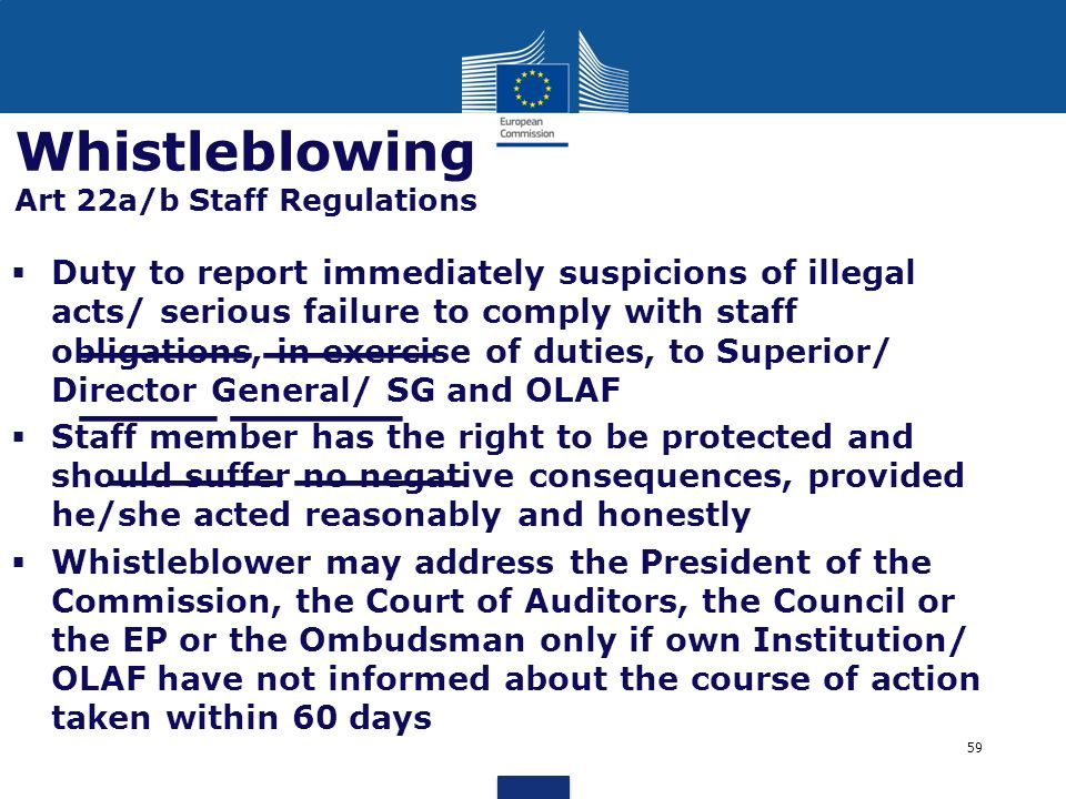 Whistleblowing Art 22a/b Staff Regulations