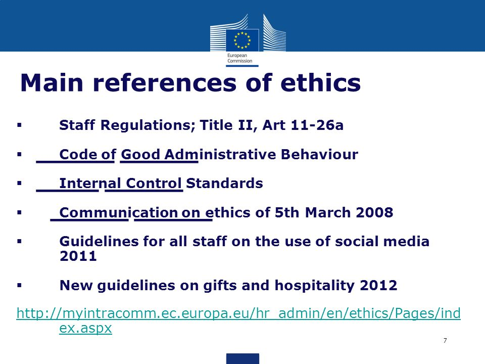 Main references of ethics