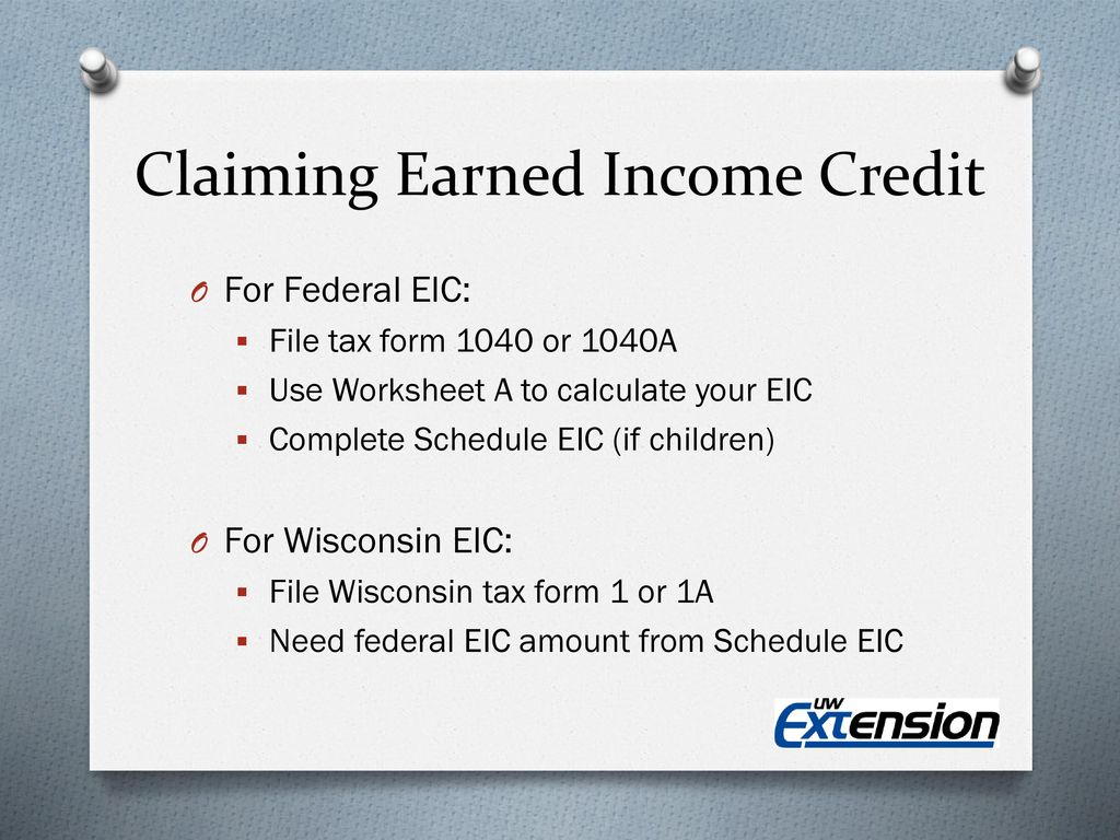 worksheet Schedule Eic Worksheet tax credits your money you earned it now claim ppt download 13 claiming income credit
