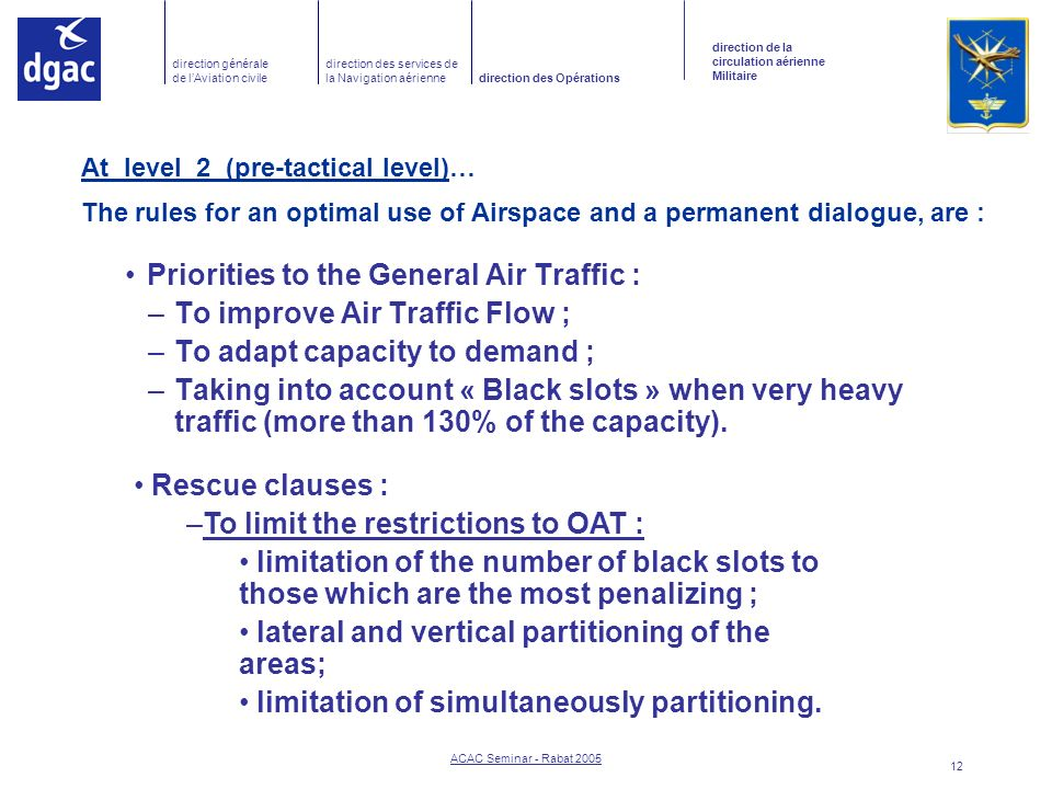 Priorities to the General Air Traffic : To improve Air Traffic Flow ;