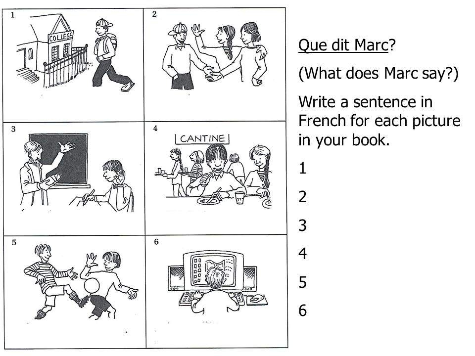 Que dit Marc (What does Marc say ) Write a sentence in French for each picture in your book. 1. 2.