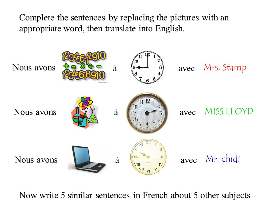 Complete the sentences by replacing the pictures with an appropriate word, then translate into English.