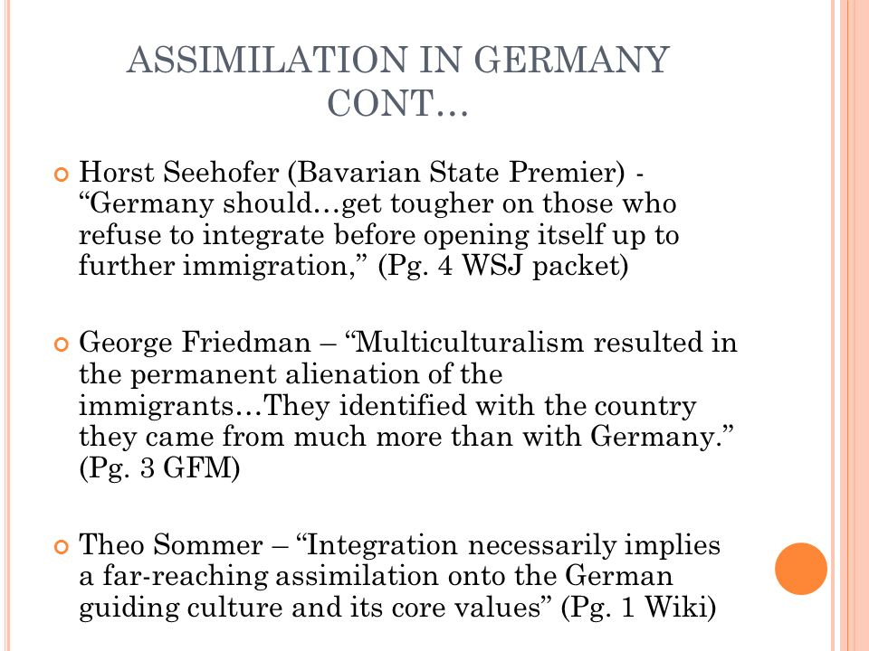 ASSIMILATION IN GERMANY CONT…