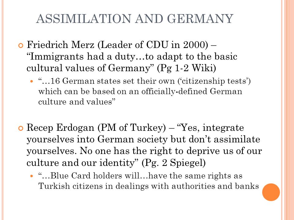 ASSIMILATION AND GERMANY