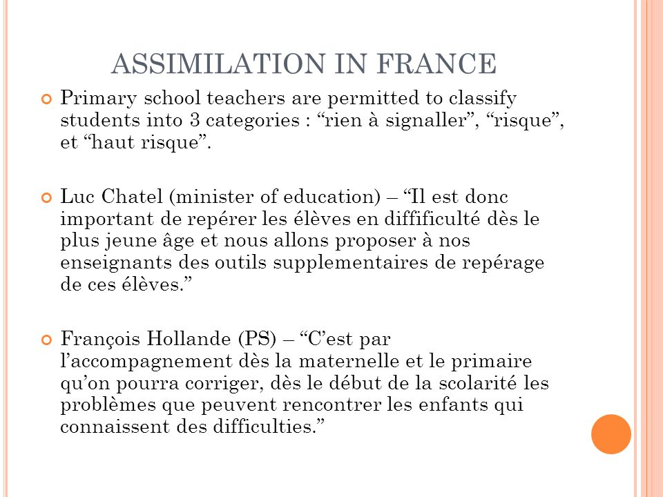 ASSIMILATION IN FRANCE